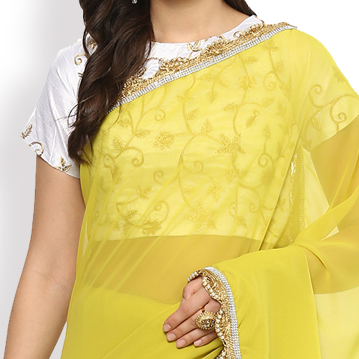 Alluring Light Yellow Partywear Embroidered Georgette Saree
