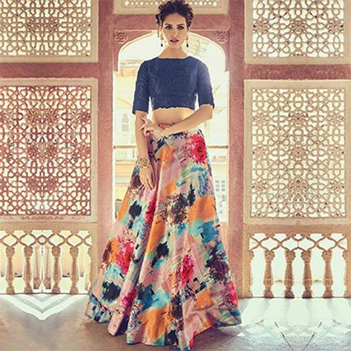 Precious Multi Colored Designer Digital Printed Banglori Silk Lehenga Choli