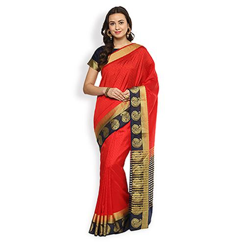 Elegant Red Colored Festive Wear Cotton Silk Saree