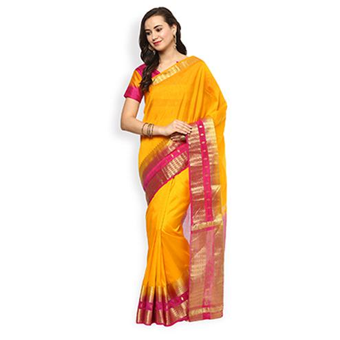 Attractive Yellow Colored Festive Wear Cotton Silk Saree