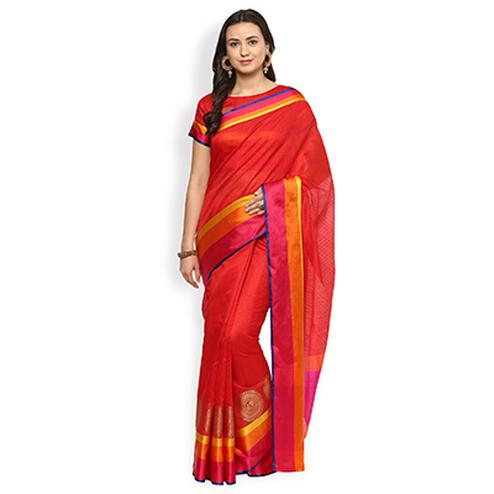 Eye-catchy Red Colored Festive Wear Cotton Silk Saree