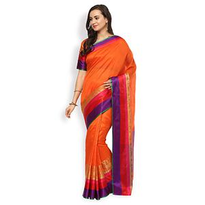 Trendy Orange Colored Festive Wear Cotton Silk Saree