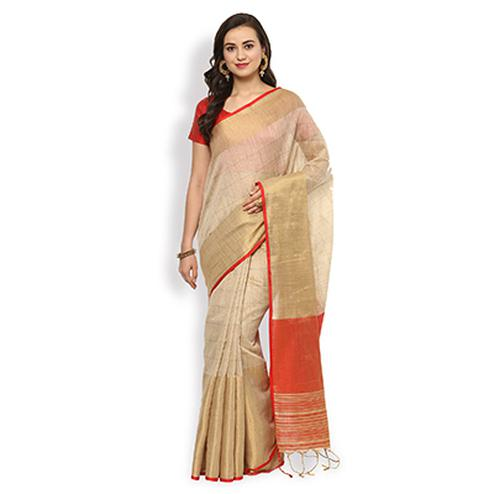 Desiring Beige Colored Festive Wear Cotton Silk Saree