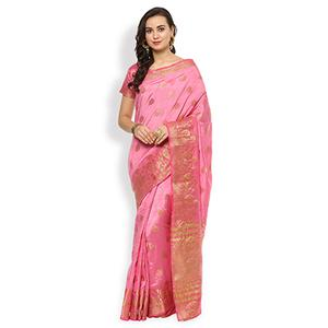 Pretty Pink Colored Festive Wear Cotton Silk Saree