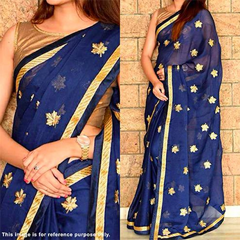 Stunning Blue Designer Embroidered Georgette Saree