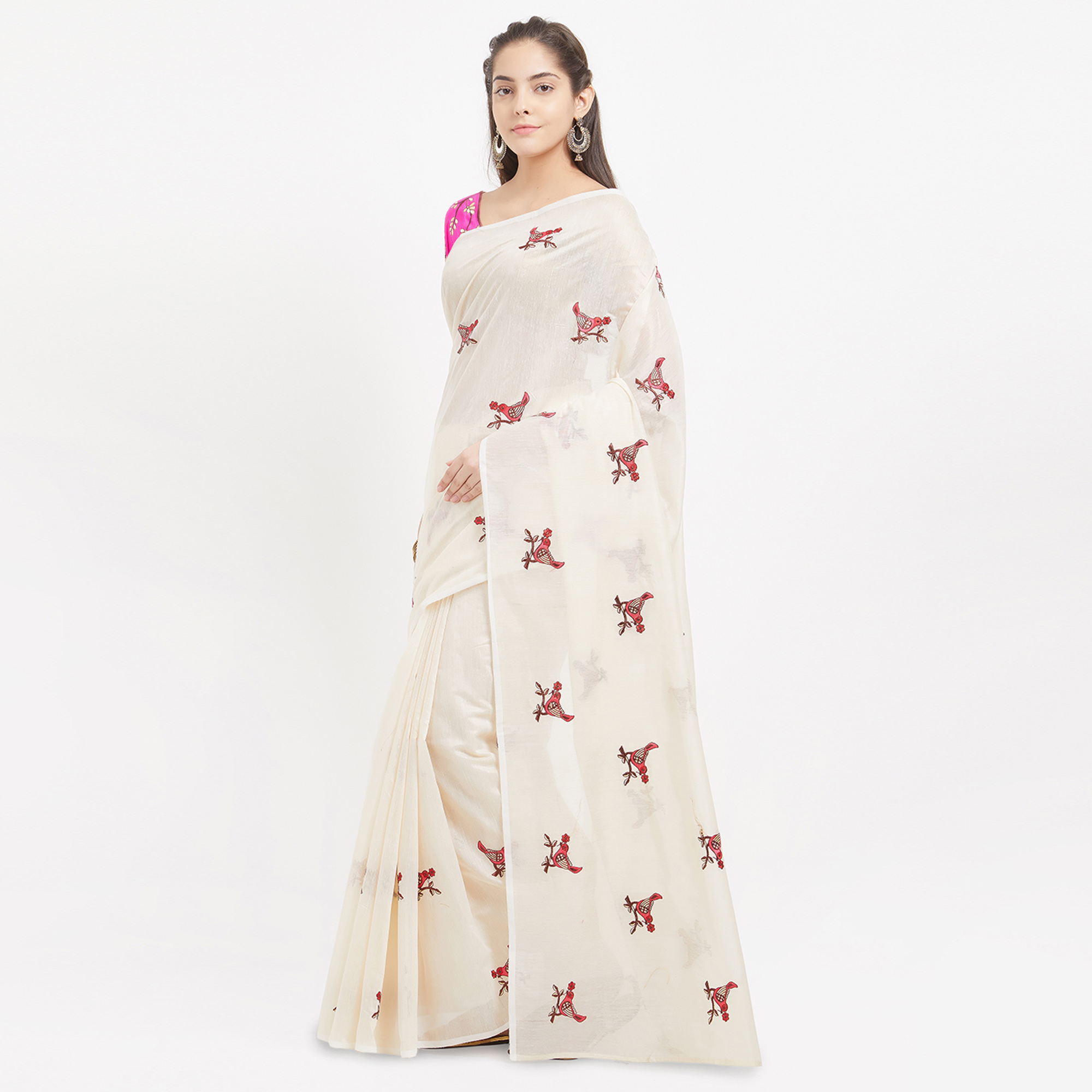 Snazzy Beige Designer Embroidered  Chanderi Silk Saree