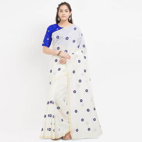 Classy White Partywear Floral Embroidered Modal Saree