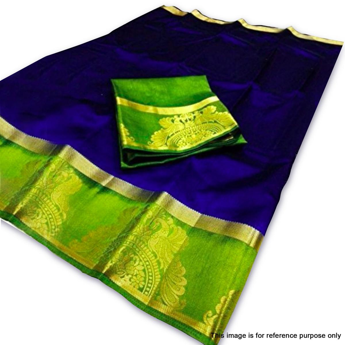Mesmerising Royal Blue Colored Traditional Cotton Silk Saree