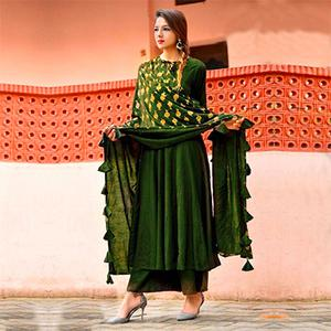 Glorious Green Colored Designer Partywear Rayon Kurti