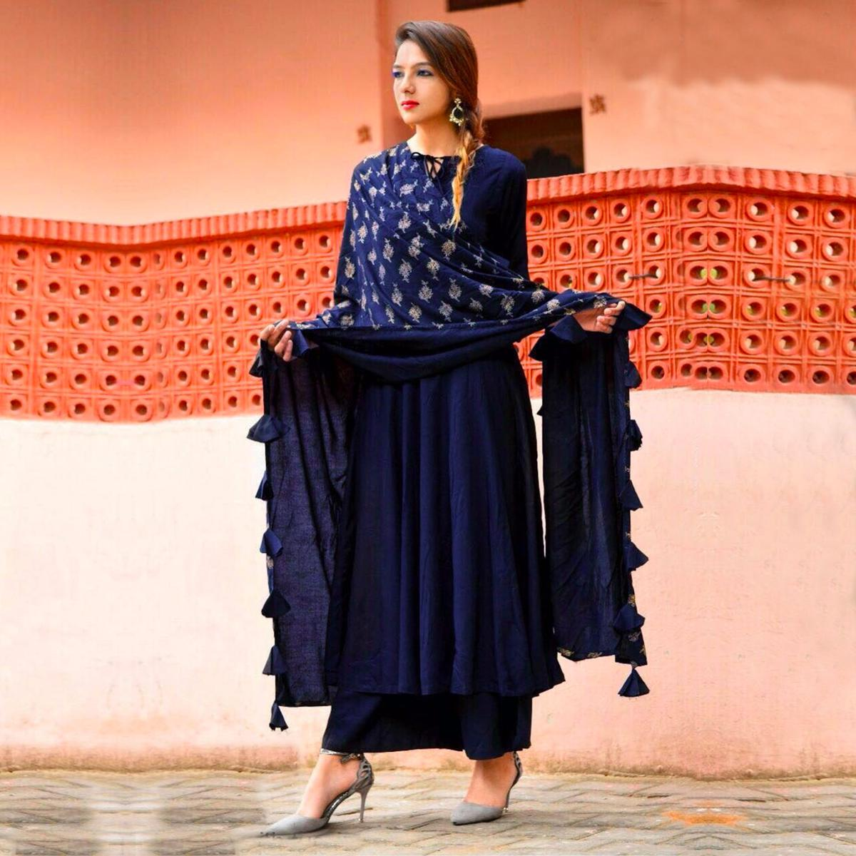 Stylish Blue Colored Designer Partywear Rayon Kurti