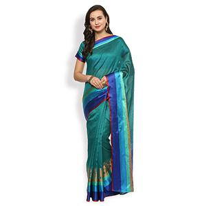 Charming Turquoise Green Colored Festive Wear Cotton Weaving Saree