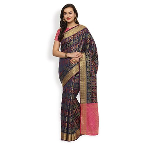Glowing Navy Blue Colored Festive Wear Cotton Weaving Saree