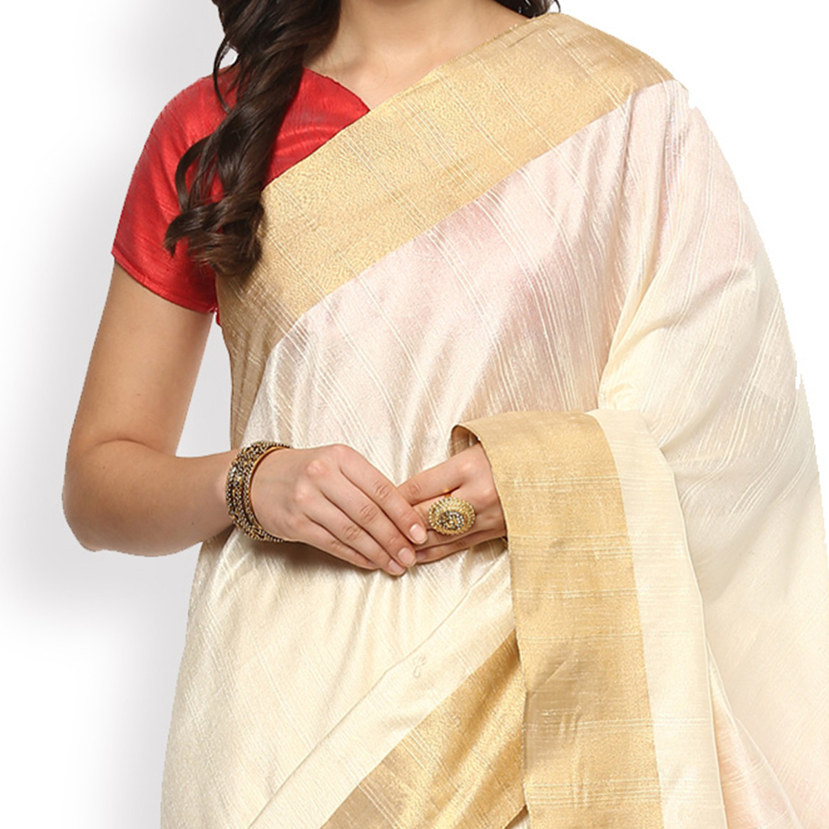 Classy Cream Colored Festive Wear Cotton Weaving Saree