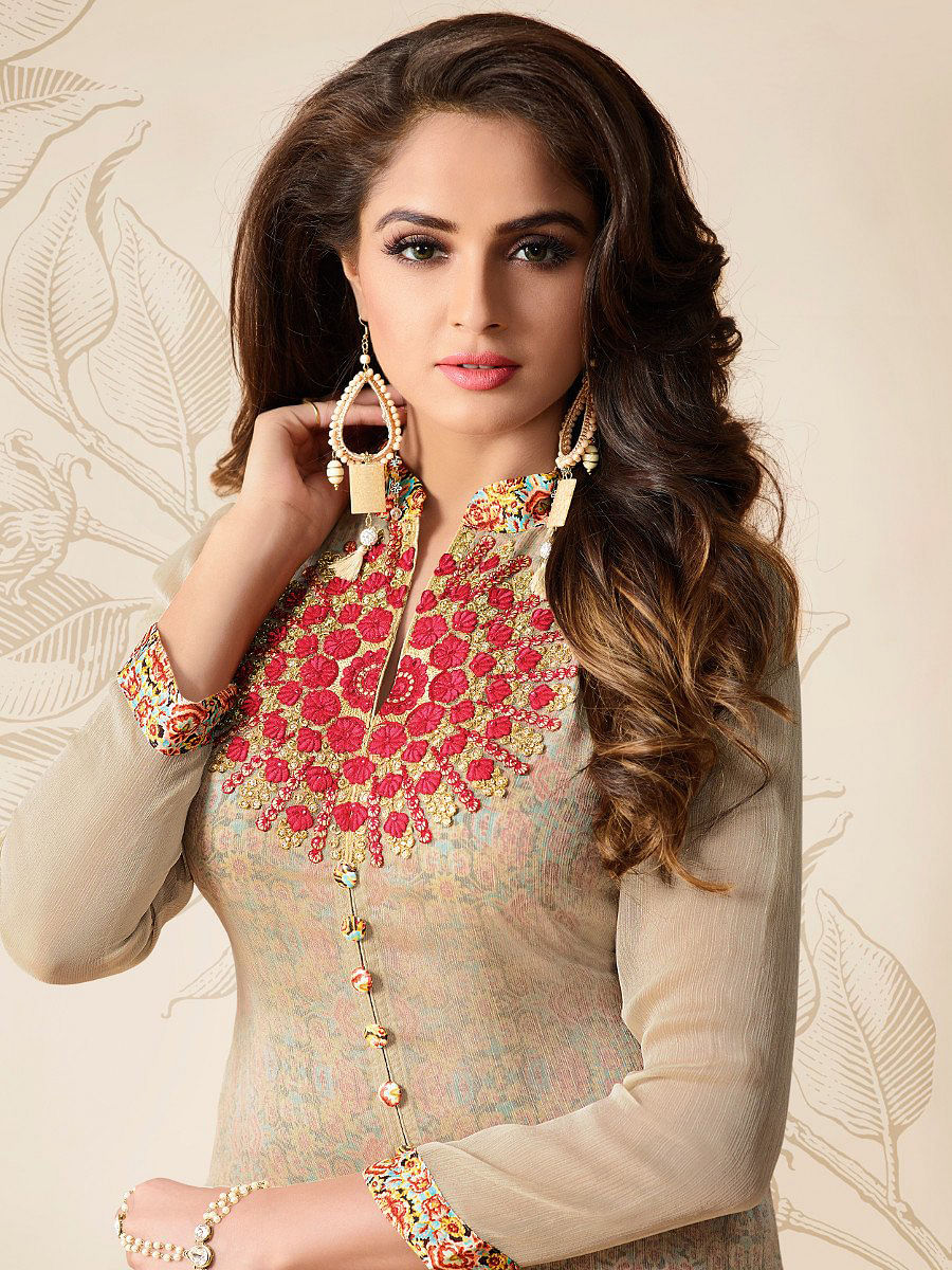 Light Beige - Red Partywear Embroidered Kurti