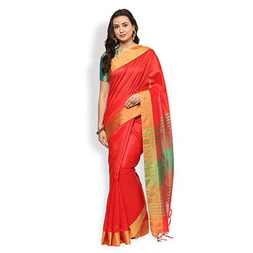 Glorious Red Colored Festive Wear Top Dyed Jacquard Saree