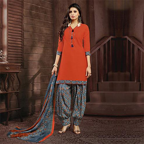Orange Colored Casual Printed Flex Cotton Patiala Dress Material