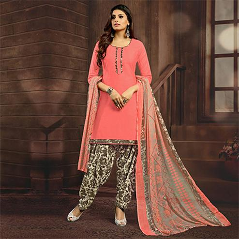 Peach Colored Casual Printed Flex Cotton Patiala Dress Material
