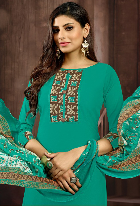 Rama Green Colored Casual Printed Flex Cotton Patiala Dress Material