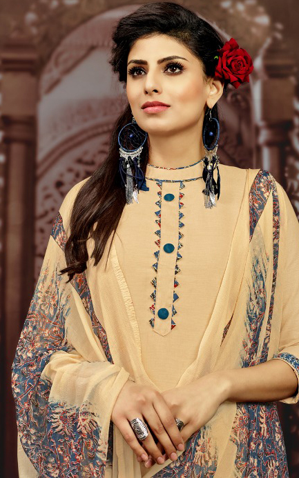 Beige Colored Casual Printed Flex Cotton Patiala Dress Material