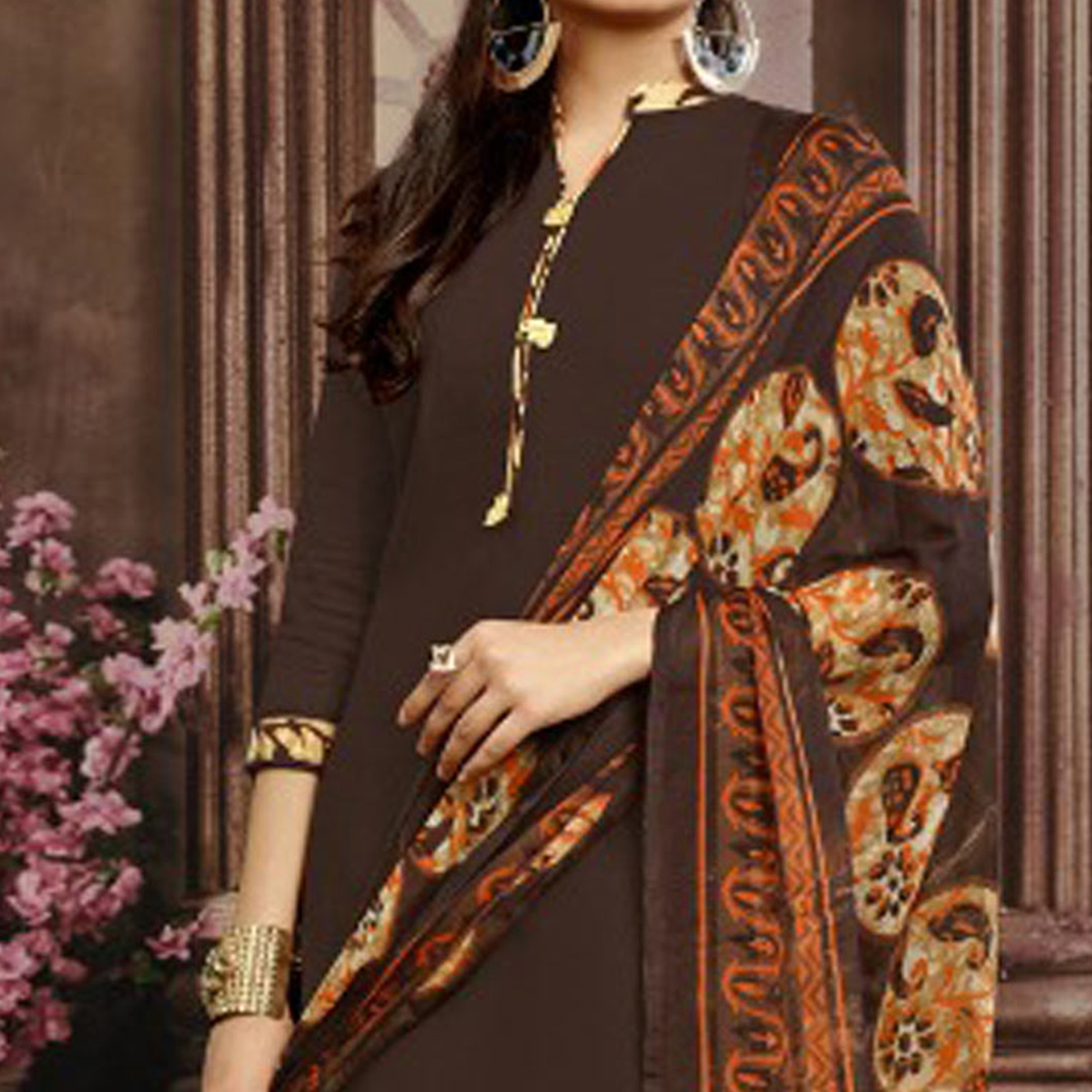 Brown Colored Casual Printed Flex Cotton Patiala Dress Material