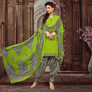 Light Green Colored Casual Printed Flex Cotton Patiala Dress Material