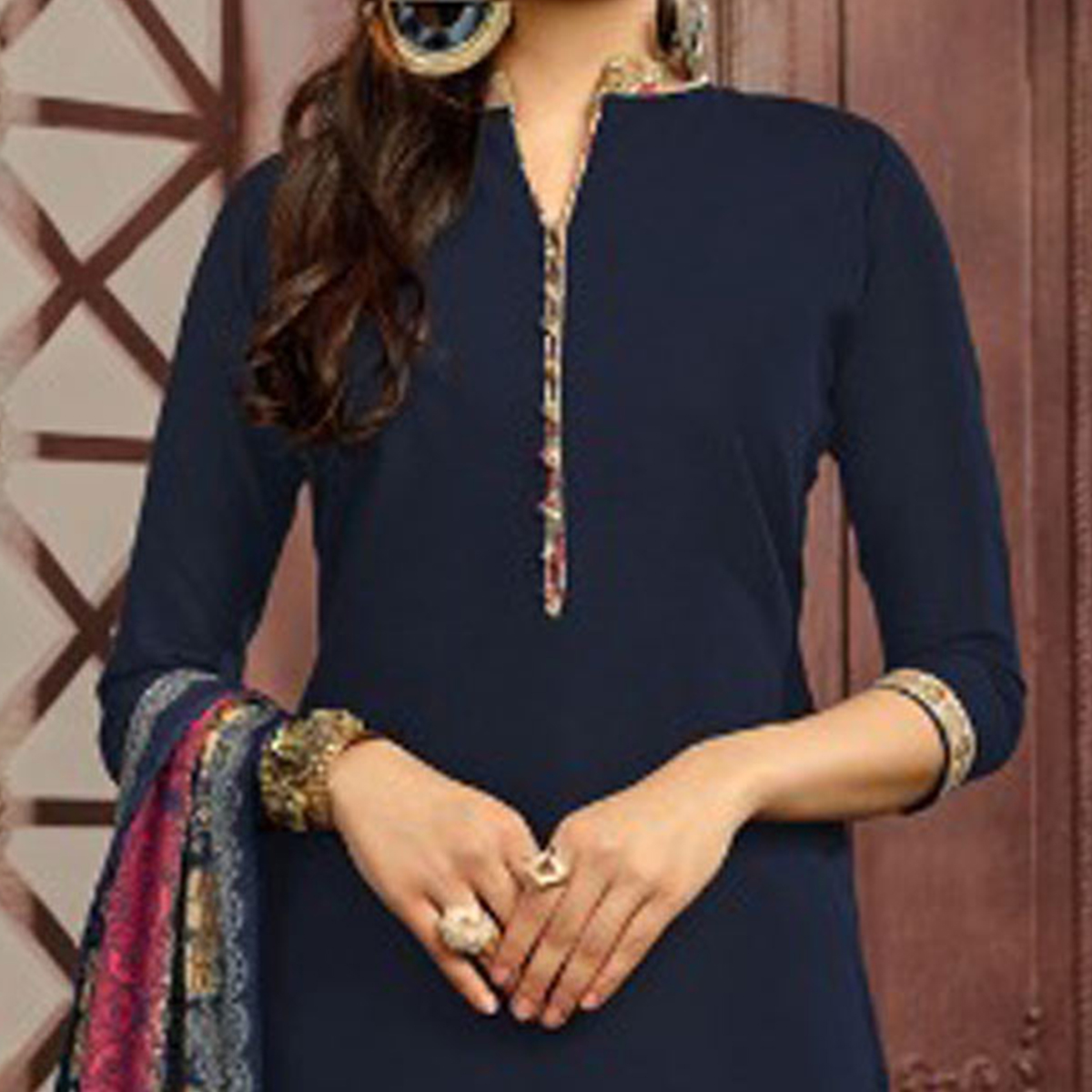 Navy Blue Colored Casual Printed Flex Cotton Patiala Dress Material
