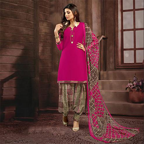 Deep Pink Colored Casual Printed Flex Cotton Patiala Dress Material