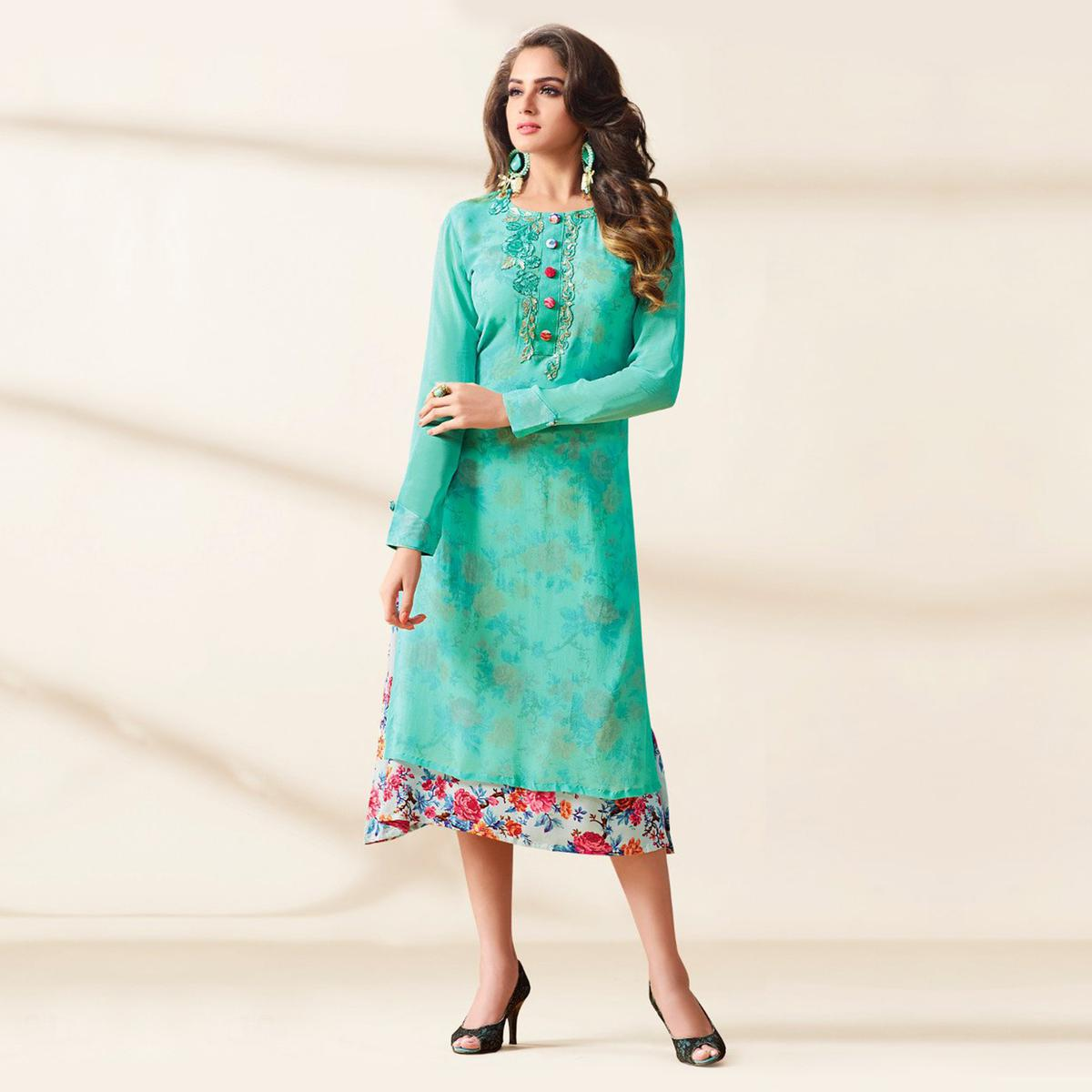 Sea Green Heavy Georgette Designer Kurti