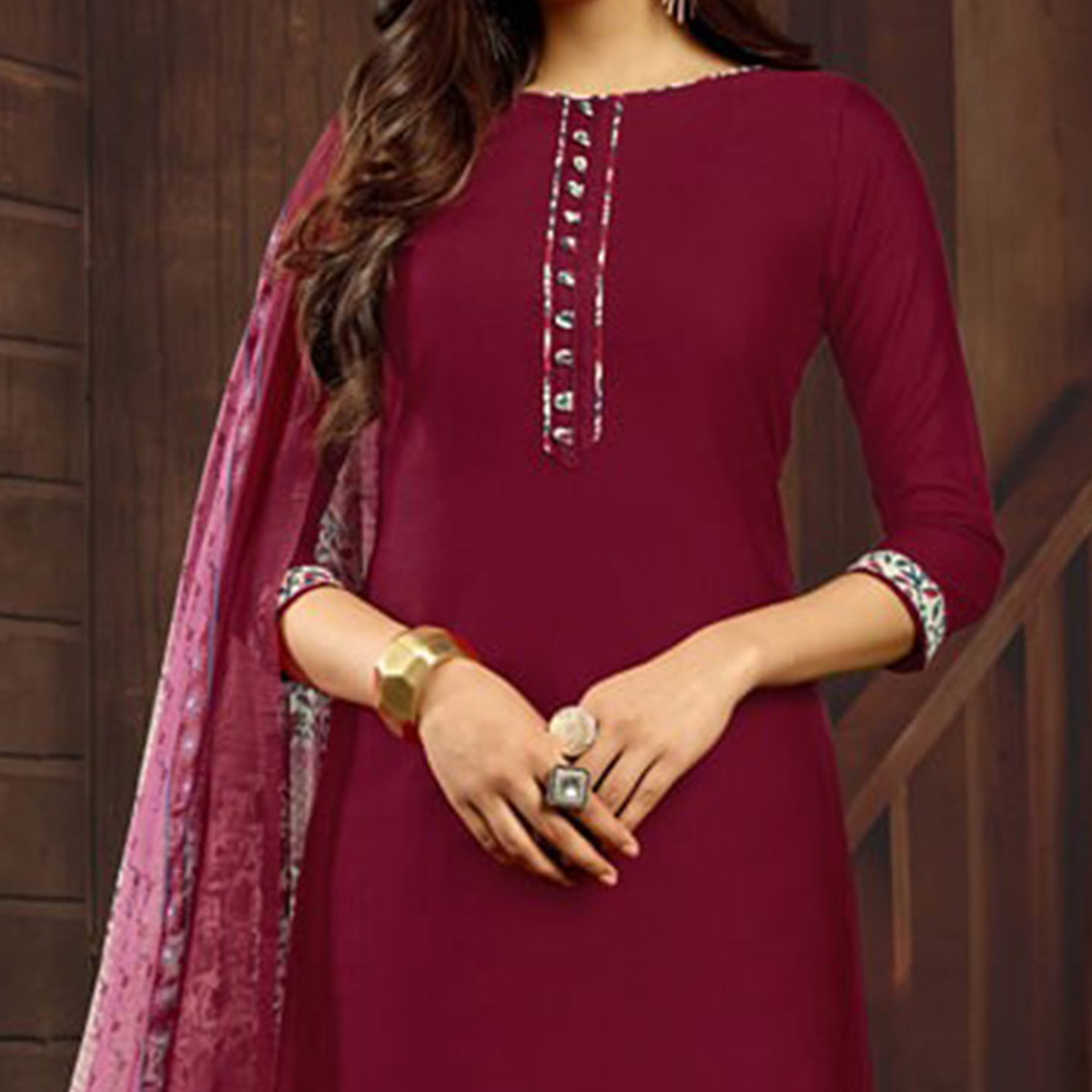 Maroon Colored Casual Printed Flex Cotton Patiala Dress Material