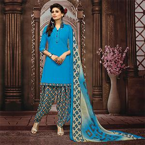 Sky Blue Colored Casual Printed Flex Cotton Patiala Dress Material