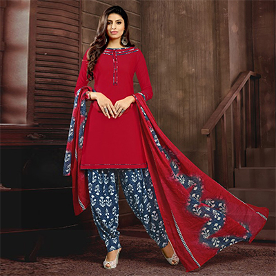 Red Colored Casual Printed Flex Cotton Patiala Dress Material