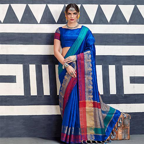 Elegant Royal Blue Colored Festive Wear Art Silk Woven Saree