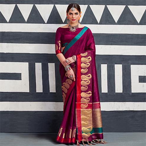 Smart Magenta Colored Festive Wear Art Silk Woven Saree
