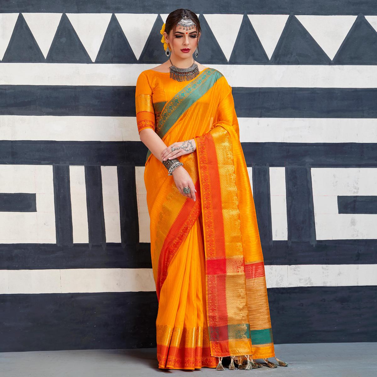 Glorious Yellow Colored Festive Wear Art Silk Woven Saree
