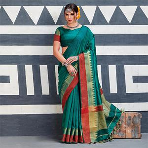 Classy Turquoise Green Colored Festive Wear Art Silk Woven Saree
