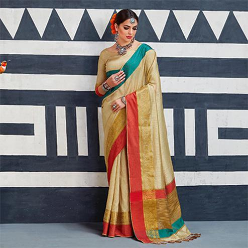 Demanding Beige Colored Festive Wear Art Silk Woven Saree