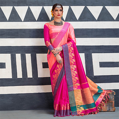 Pretty Pink Colored Festive Wear Art Silk Woven Saree