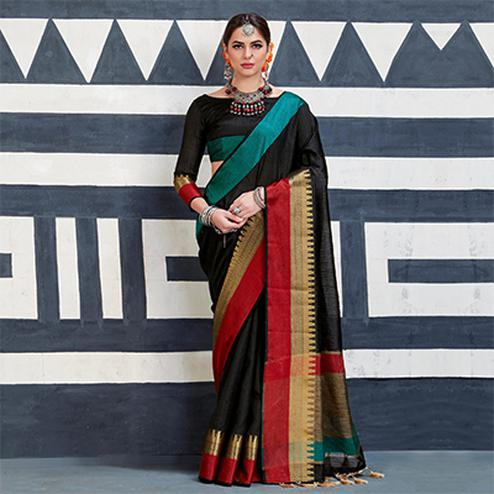 Blunt Black Colored Festive Wear Art Silk Woven Saree