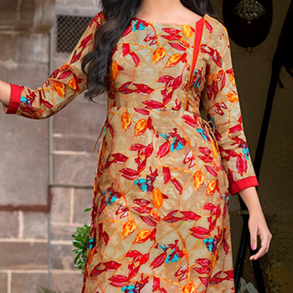 Tan Leaf Print Cotton Kurti