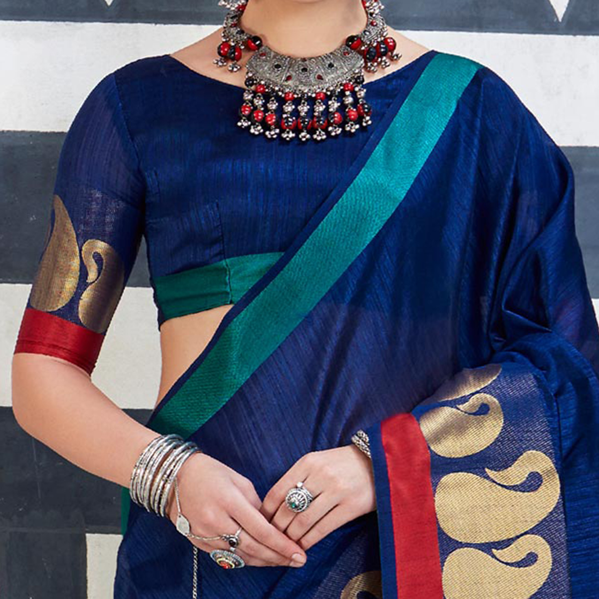 Attractive Navy Blue Colored Festive Wear Art Silk Woven Saree