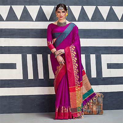 Eye-Catching Rani Pink Colored Festive Wear Art Silk Woven Saree