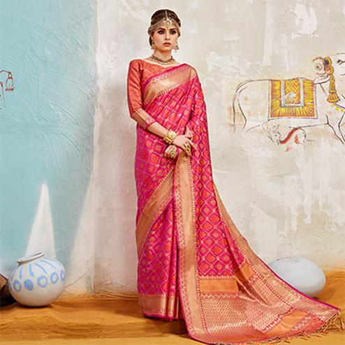 Glorious Pink Colored Traditional Designer Silk Saree