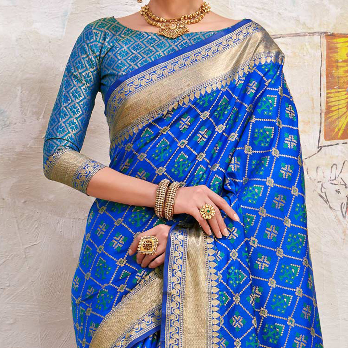 Adorable Blue Colored Traditional Designer Silk Saree
