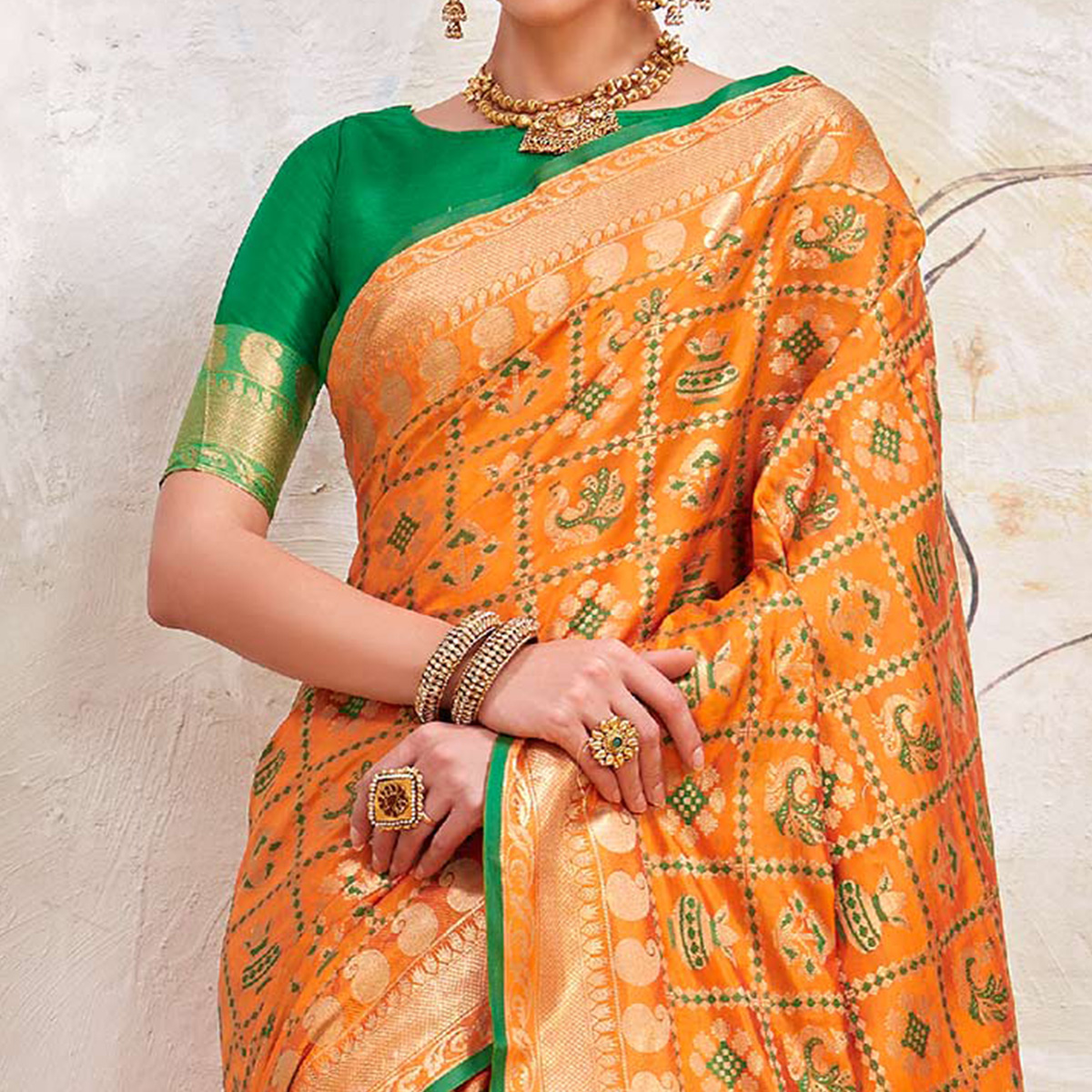 Arresting Orange Colored Traditional Designer Silk Saree