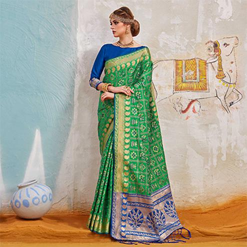 Delightful Green Colored Traditional Designer Silk Saree
