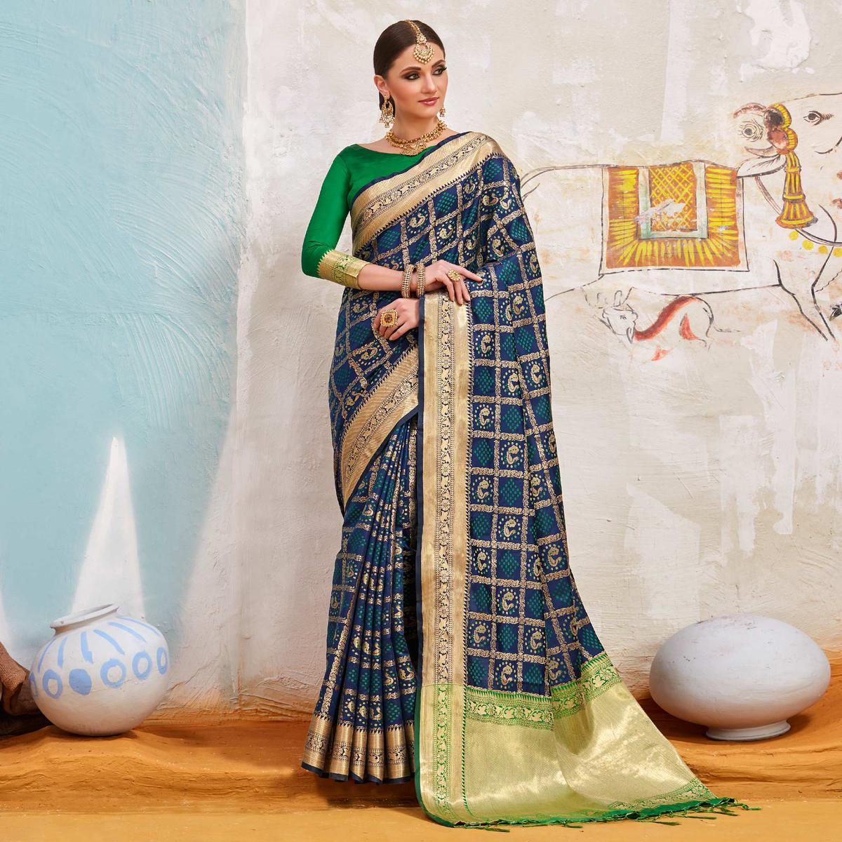 Trendy Stone Blue Colored Traditional Designer Silk Saree