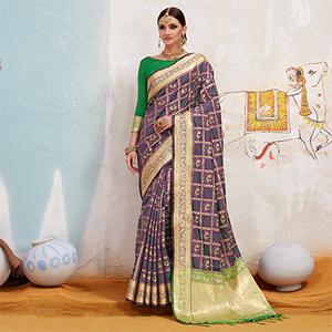Ravishing Purple Colored Traditional Designer Silk Saree