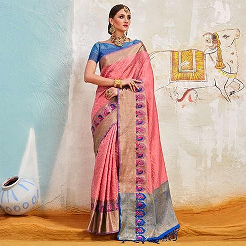Radiant Pink Colored Traditional Designer Silk Saree
