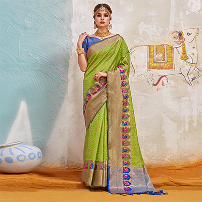 Delightful Pista Green Colored Traditional Designer Silk Saree