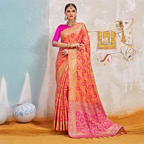 Gorgeous Orange-Pink Colored Traditional Designer Silk Saree